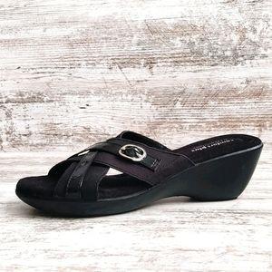 ⚄Comfort Plus Black Wedge Slide Sandal